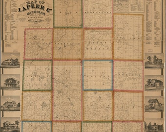 16x24 Poster; Map Of Lapeer Co., Michigan 1863