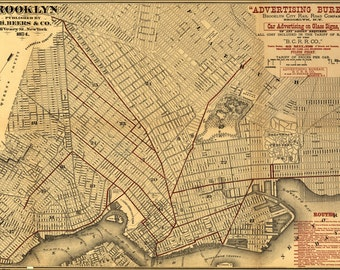 16x24 Poster; Map Of Brooklyn 1874