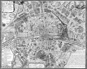 16x24 Poster; Map Of Paris France Circa 1705