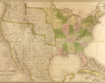 16x24 Poster; Map Of The United States Of America 1839