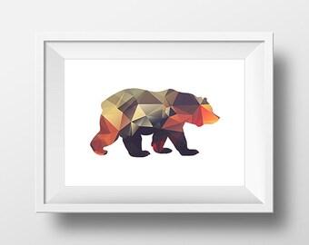 Bear Print, Geometric Print, Geometric Wall Art, Bear Art Print, Bear Printable, Bright Triangle, Low poly art, Nursery Decor, Tribal Print.