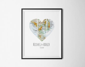 Map Heart Art, Husband Gift, Wife Gift, Unique Wedding Gift, for Couple, Anniversary Gift, Personalized Map, Heart Map Print, Personalized.