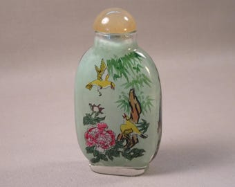 Reverse Painted Chinese Snuff Bottle Birds Flowers
