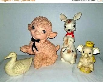 Vintage Rubber Squeak Toys,Lot of 4,Edward Mobley,Rempel,Kangaroo Squeak,Arrow Rubber,Elephant Squeak,Lamb,Squeak Toys,Vintage Toys,1960s