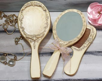 Wooden Hairbrush Mirror and Comb, Antique Vanity Table Set, Retro Hair brush, Wooden Combr, Wood Mirror, Mother's day Gift, Women Accessori