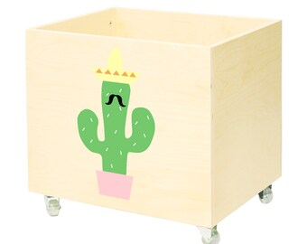 Big wooden toy chest, nursery toy box, toy bin storage, toy hope crate Cactus.Kids furniture,organizer wheels,casters.Design,minimalist