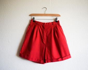 Vintage 90s High Waist Red Shorts / 26 Inch Waist Cotton Shorts Small