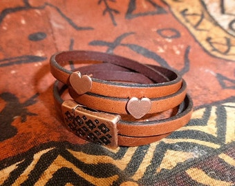 5mm flat leather double wrap bracelet with copper clasp and two copper heart charms