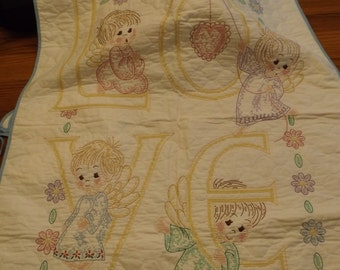 Vintage Cross-Stitched Baby Quilt and Bibs