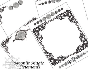 4 Blank Book of Shadows Pages Victorian Moon/ Grimoire Pages
