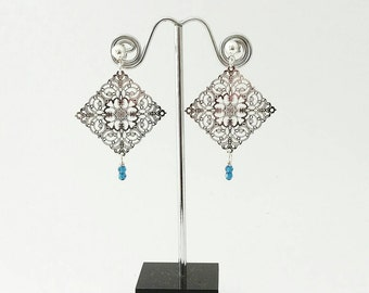 Delicate silver and crystal earrings