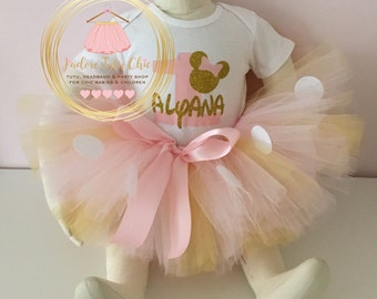 Minnie mouse birthday outfit - minnie mouse 1st birthday -pink and gold minnie mouse outfit - 1st birthday outfit