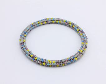 Bead Stitched Solid Bangle Bracelet, Created with Herringbone Stitch, Handmade Jewelry by Detail London .