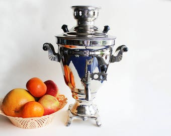 Vintage Soviet Samovar, metal samovar, 1981s, russian samovar, antique samovar, samovar teapot, samovar tea, USSR Soviet collectible tea pot