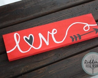 Love Sign - Handpainted-  Valentines Decor - Wood Signs - Arrow Sign