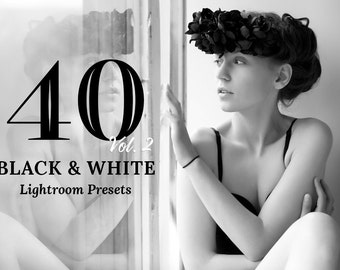 40 B&W Lightroom Presets V2 - Professional Photo Editing for Landscapes, Portraits, Newborns, Weddings