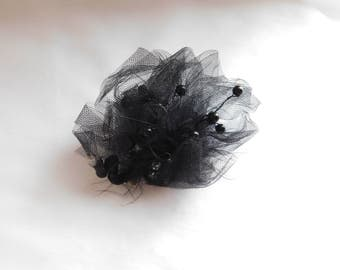 Black Fishnet Hair Clip with Beading, Feathers and Rhinestones