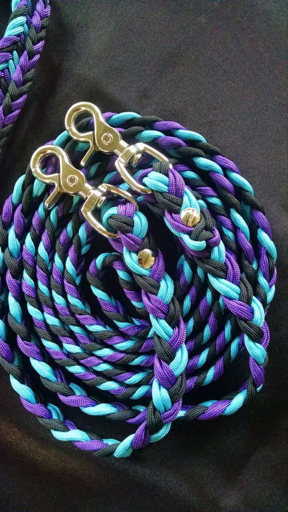 Horse Tack: Adjustable 9ft Paracord Barrel Reins, 6 strand flat braid 550 paracord with trigger snaps and chicago screws