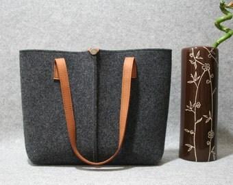 FREE SHIPPING,dark grey wool felt bag. Tote bag, Felt bag, Felted tote bag, bag for women, leather and felt bag,