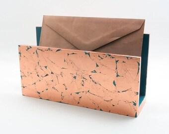 Handmade Letter Holder/ Mail Holder/ Desk Organizer - Copper & Turquoise Blue