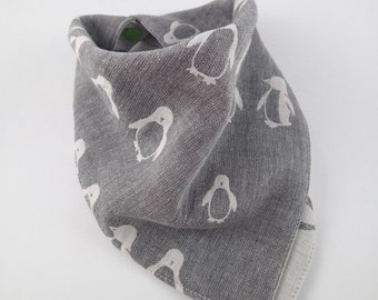 Penguin gift, penguin bandana bib, baby bib, scarf bib, dribble bib, toddler bib