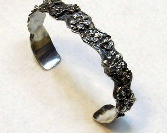 Hi relief, Sterling Silver Cuff Bracelet worthy of Woodland Sprite, for smaller wrist