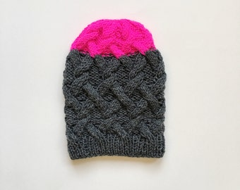 Grey and neon pink cable knit beanie hat // Size Small