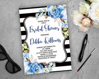 Blue Kate Spade Invitation Bridal Shower Invitations Blue Bridal Shower Invites Floral Invitation Hydrangea Invitation Printable Invites