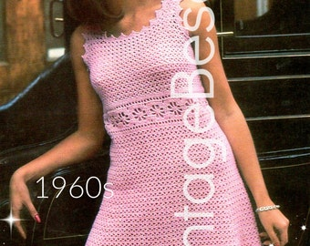 INSTANT DOWNlOAD - PdF Pattern - 1960s Party Dress Crochet Pattern Vintage Ladies Chic Lacy Empire Line Sleeveless Mod Dress