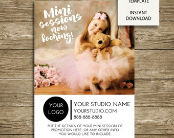 Mini Sessions Advertising - 5x7 Photoshop Marketing Board Template - INSTANT DOWNLOAD