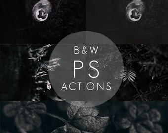Black and White Photoshop Action Set |5 B&W Actions | Creative Black and White Actions | Monochrome Photoshop Actions | Photoshop CS6 - CC
