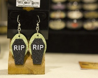 Sparkly Coffin Earrings