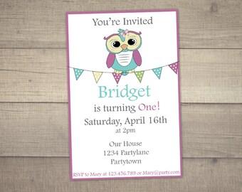 Owl Birthday Invitation, Owl Invitation, Owl Birthday Party, Birthday Invitation Owl, Owl Party Invite -digital file.Thank You card included