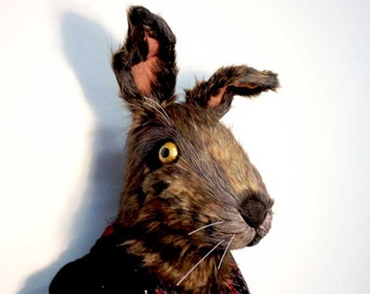 Big Bunny Hare Mask. Brown rabbit animal head. Costume headdress for adults. Faux fur. Handmade, animal friendly. Alice. Mad March Hare.