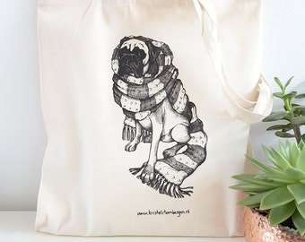 Canvas bag with screen print of dog design