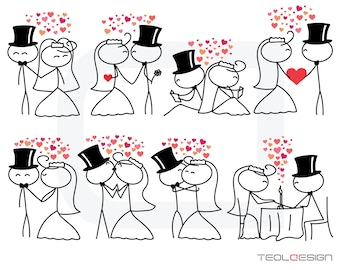 Stick figure people love wedding couple meeting cute family stickman clip art clipart digital Personal Use (23)