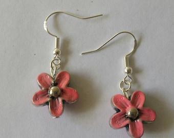 Pink earrings,  pink beads, flower jewelery, flower earrings, sterling silver