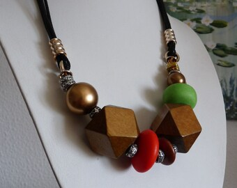 Modern Geometric Necklace - Red Brown  Beaded Necklace - Wooden Beads Necklace - Geometric Jewelry - Red Gold Brown Green Copper Black
