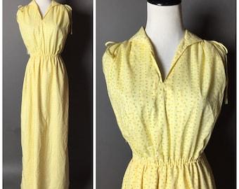 Vintage 60s dress / vintage 70s dress / 1960s dress / 1970s dress  / maxi dress / floral dress / yellow dress M5185