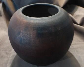 Riftzone Raku Vase Collectible Hawaiian Pottery Ceramic Vessel Signed Stoneware Studio Pottery