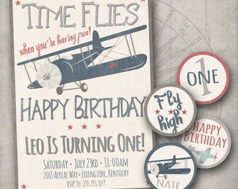 Vintage Airplanes Birthday Party Invitation - Cupcake Toppers - Rustic - Antique Airplanes - Little Boys First Birthday - Blue Plane