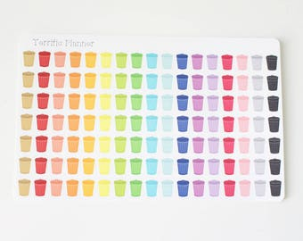 119 multi Color trash can garbage stickers  For Planners in  #5