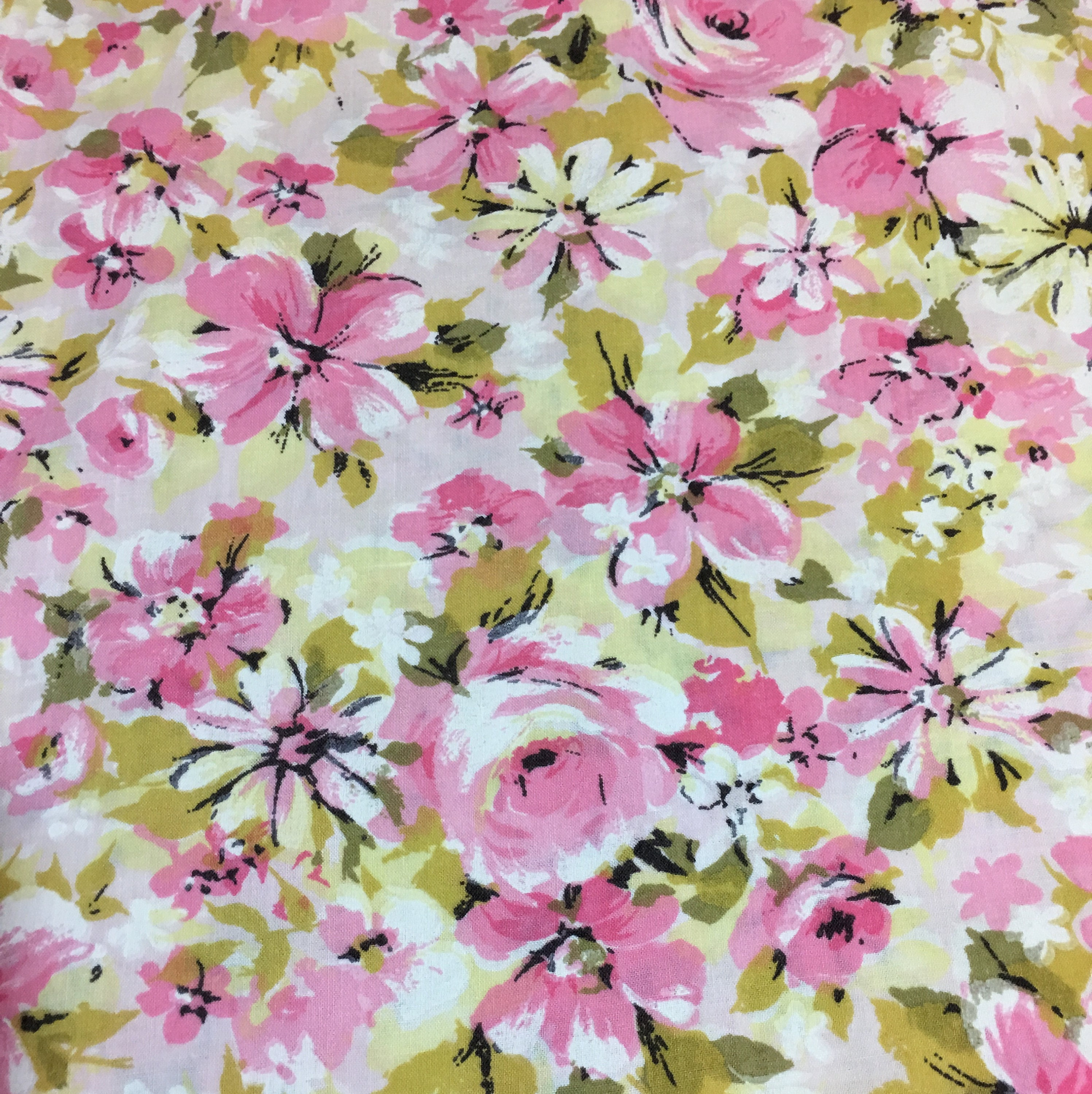 Vintage Pink Floral Muslin Full Flat Sheet Pink Green Gold Flowers