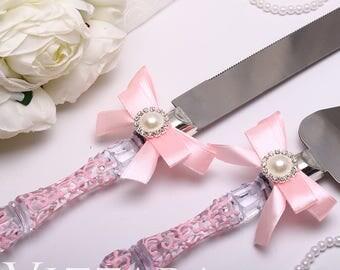 personalized cake cutting set Wedding pink Cake Server Wedding set for Cake Server and Knife Wedding cake knife server Set wedding cake