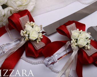 wedding cake knife set Red set Wedding Royal Red Decor Wedding server and knife set Wedding cake set Wedding Cake flowers Royal Wedding set