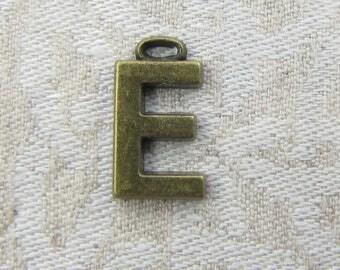 """Bronze Wide Sans Serif Letter """"E"""" Charm, 1 or 5 letters per package  ALF005e-BZ"""