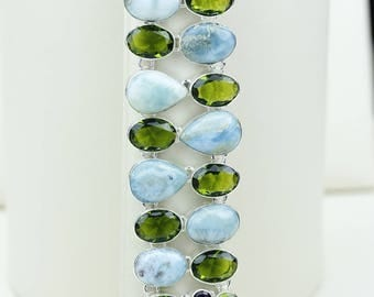 Larimar Peridot 925 S0LID Sterling Silver Bracelet B2676