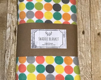 Polka Dot Swaddle Blanket, Newborn Wrap, Photo Prop, Whimsical Dots, Flannel, personalize