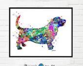 Basset Hound Dog Print, Watercolor PRINTABLE, Dog Art, Basset Hound Gifts,  Dog Wall Print, Dog Picture, Basset Hound Gift Idea