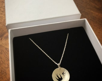 Silver Swallow Silhouette Necklace (two swallows)